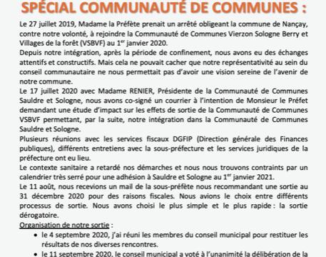 Le Mot du Maire Septembre 2020